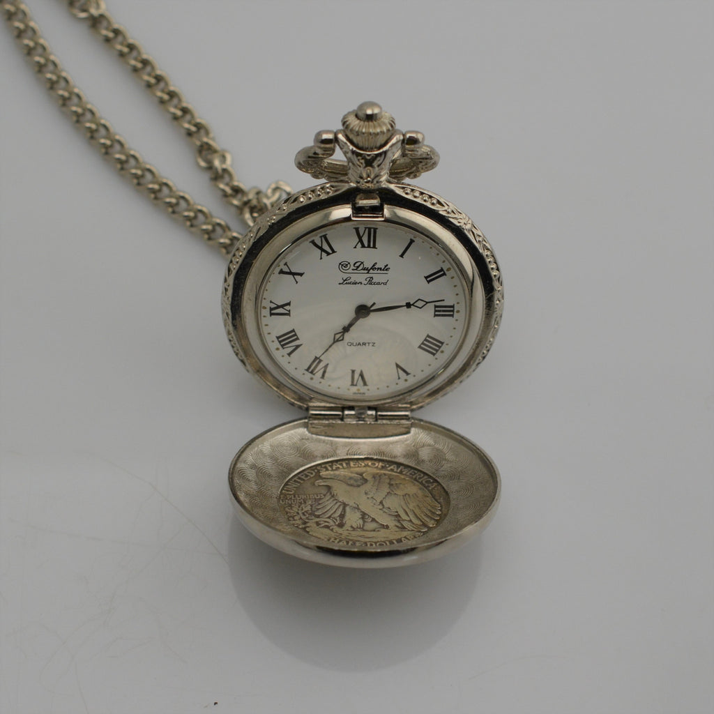 Dufonte Lucien Piccard Quartz 1944 American Eagle Half-Dollar Pocket Watch with Chain