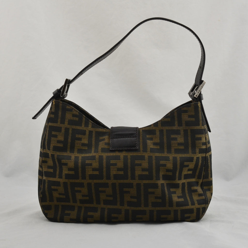 Fendi Zucchino Monogram Brown Canvas Leather Shoulder Bag Purse 8BR036