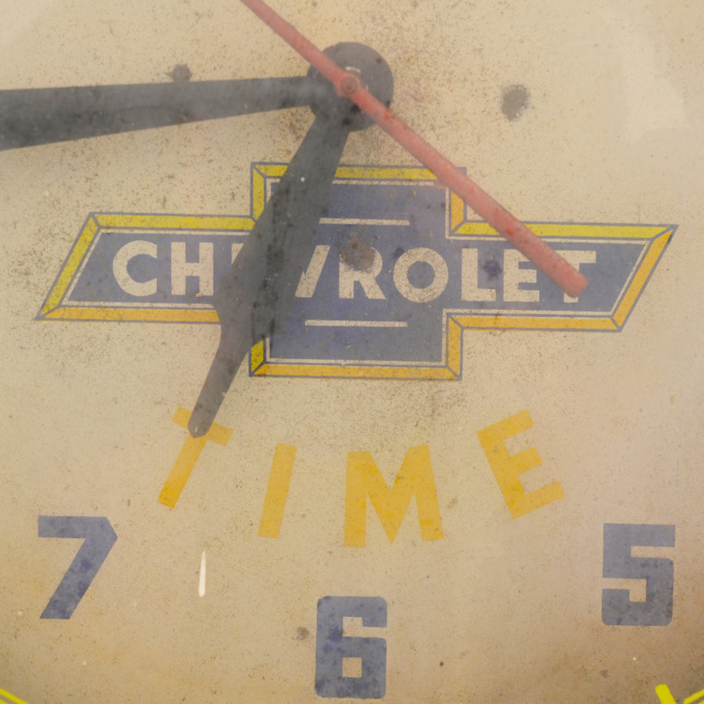 Chevrolet Time Vintage 1950's Advertising Neon Hanging Wall Clock