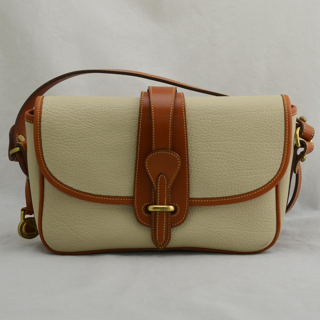 Dooney Bourke White & Tan Leather A4 550370 Adjustable Strap Messenger Bag Purse