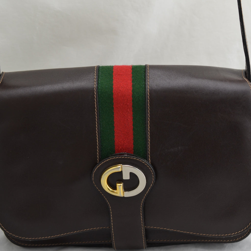 Vintage Gucci Brown Leather Web Detail Brevetatto Adjustable Strap Messenger Bag
