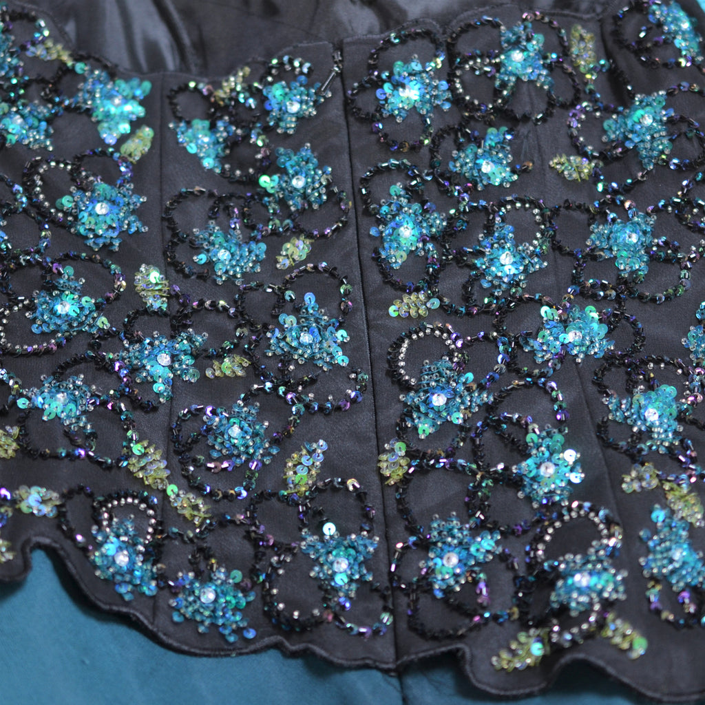Turquoise Black Sequin Bejeweled Bodice Asymmetrical Strapless Prom Dress Size 0