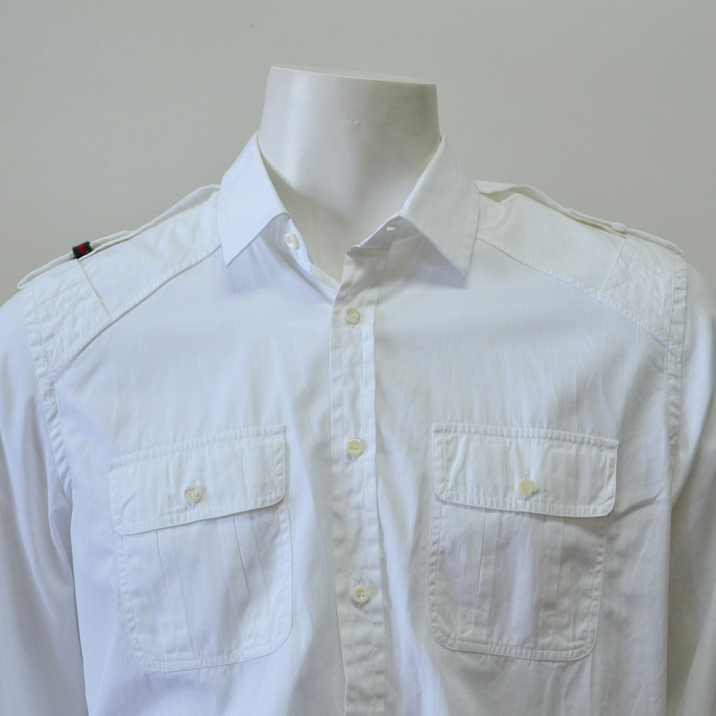 Gucci 197643 White Cotton Military Style Button-Up Men's Shirt Size 46/18