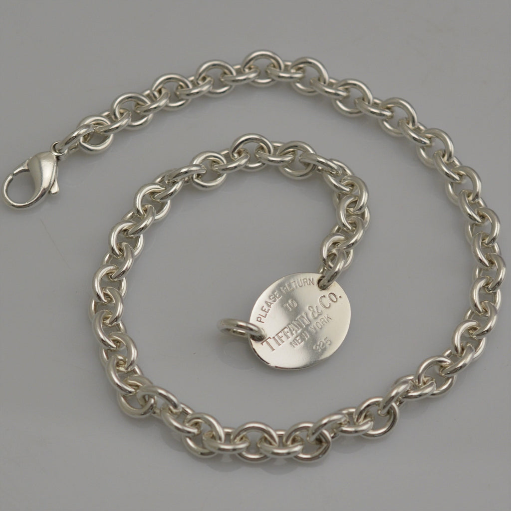 Authentic Tiffany & Co. Silver 925 Oval Tag Choker Necklace 15""