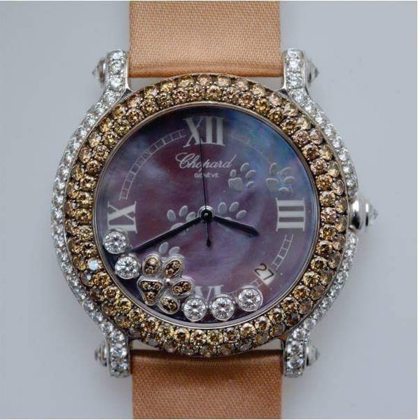Chopard 18K White Gold Happy Sport 10cts Chocolate/white diamonds ASPCA Diamond paw watch