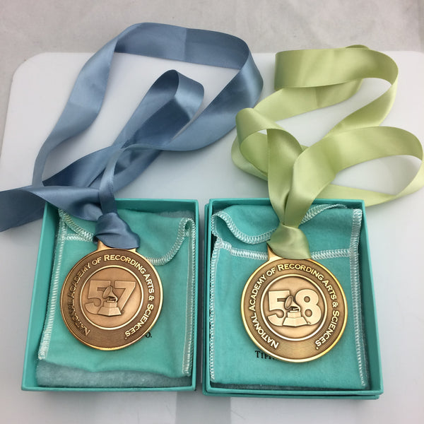 Tiffany & Co. 57th and 58th annual Grammy Nomination medals with pouch and box