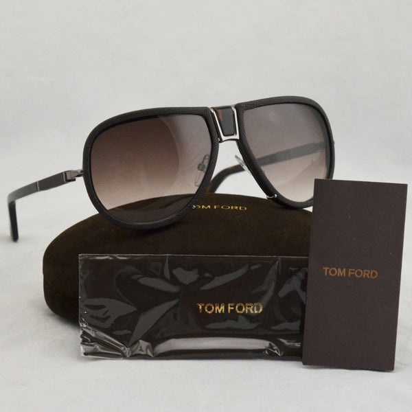 Tom Ford TF249 Humphrey Brown Leather Aviator Sunglasses 61/16 w Case