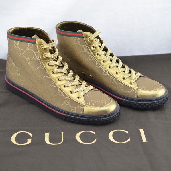Gucci 171193 Women's Hi-Top Bronze/Gold Monogram 37.5 Sneaker Shoe