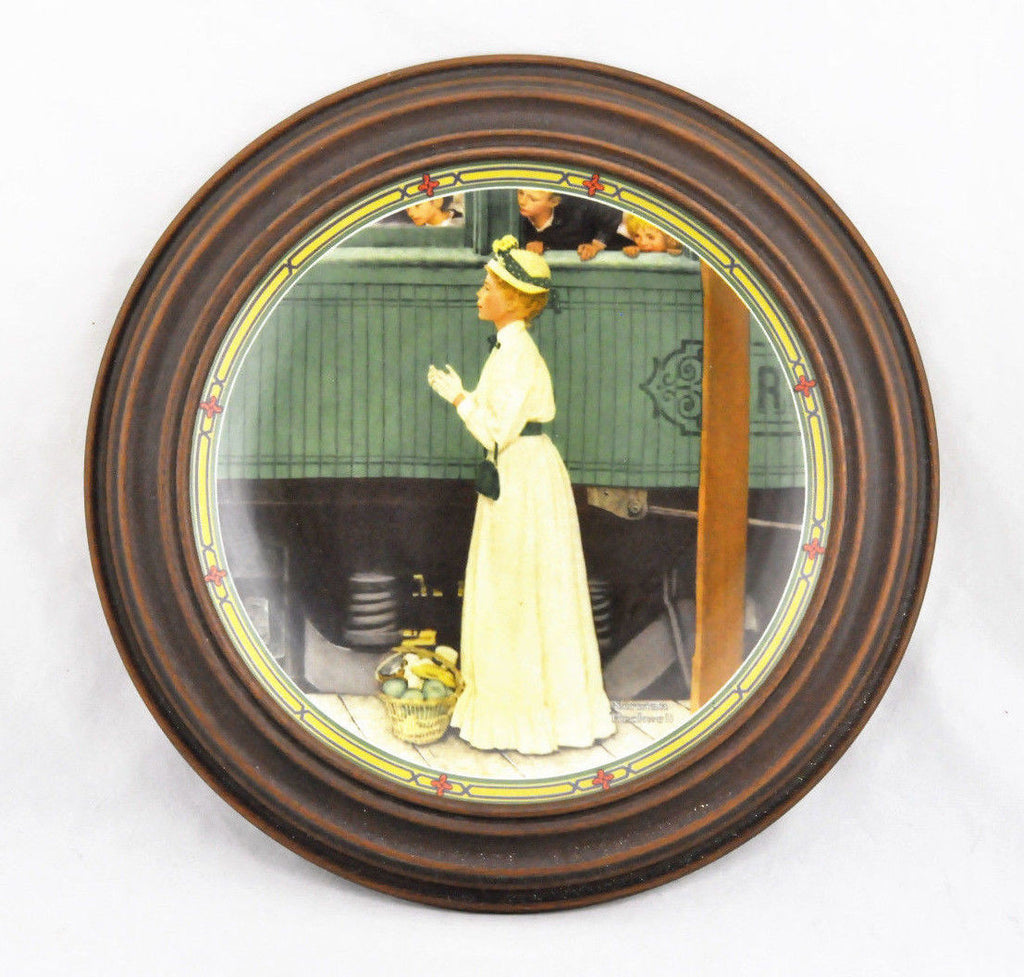 Framed Norman Rockwell A Mother's Welcome Collector Plate 4966G