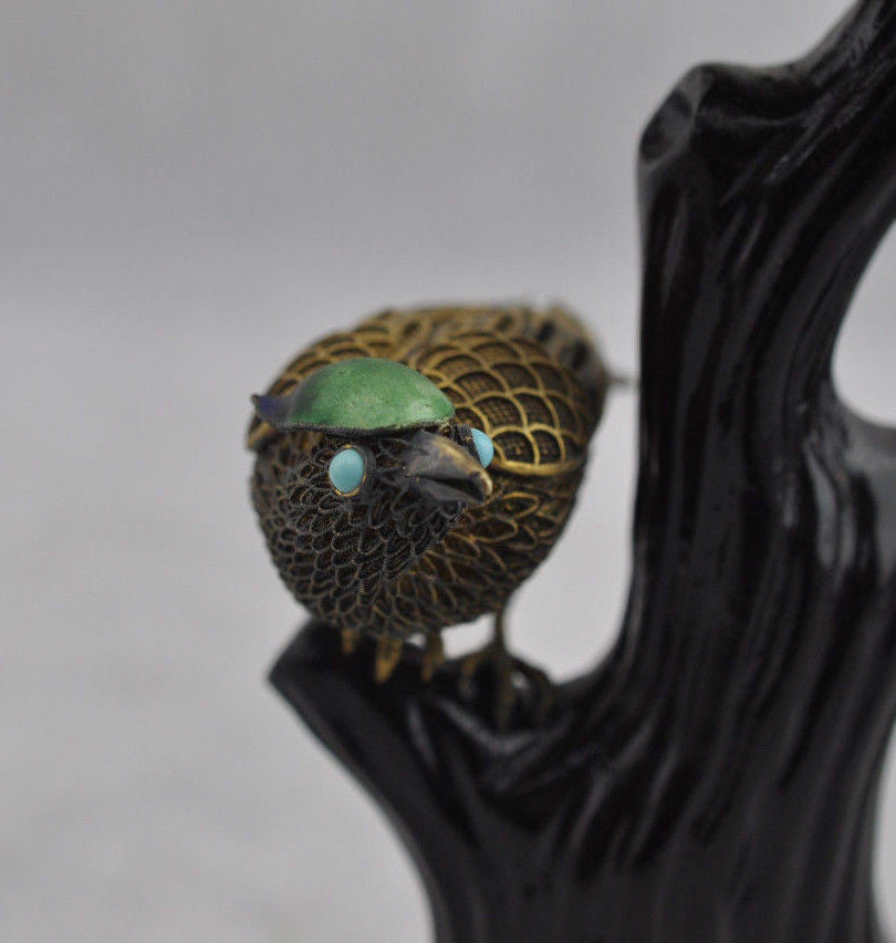 Estate Rare Quin Dynasty Fine Silver Filigree & Enamel Birds on Stand Figurine