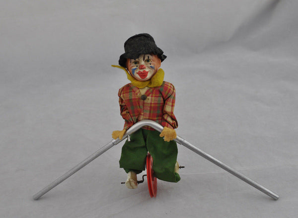 Antique Celluloid Clown Unicycle Toy Tight Rope Walker Germany