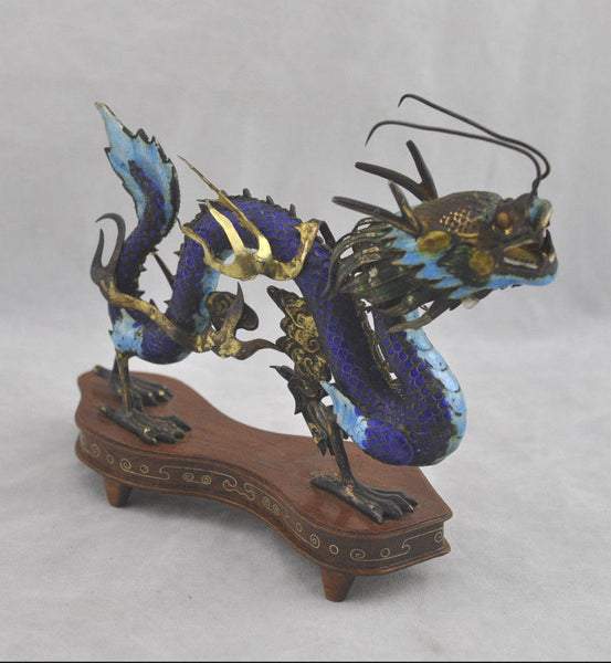 Estate Rare Oriental Fine Silver Enamel Chinese Dragon on Stand Figurine