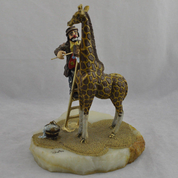 Ron Lee L E Hobo Joe Clown Cleaning Giraffe Statue Figure 24k Gold Hand Painted!