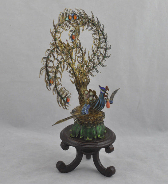 Estate Rare c.1900 Fine Silver Filigree & Enamel Peacock Bird on Stand Figurine