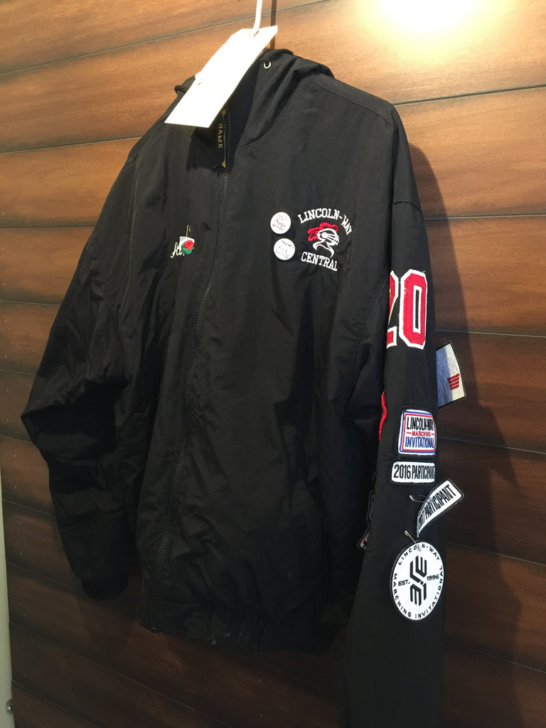 Patches attached to lettermen jacket