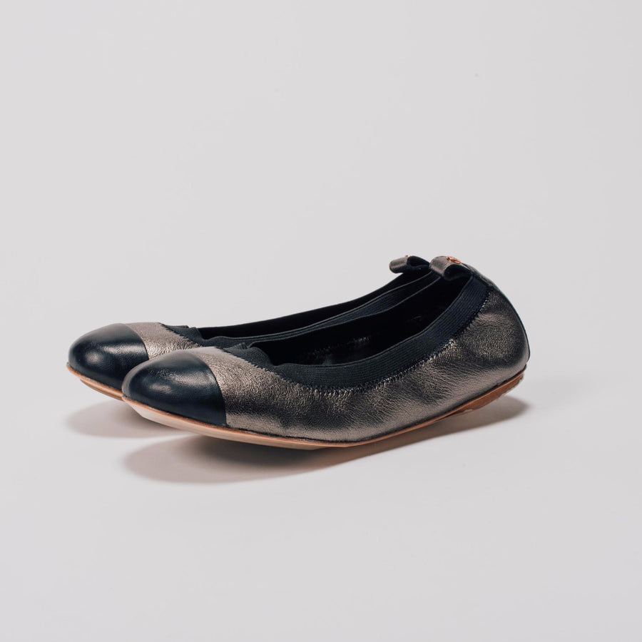 Pewter Leather Ballet Flat