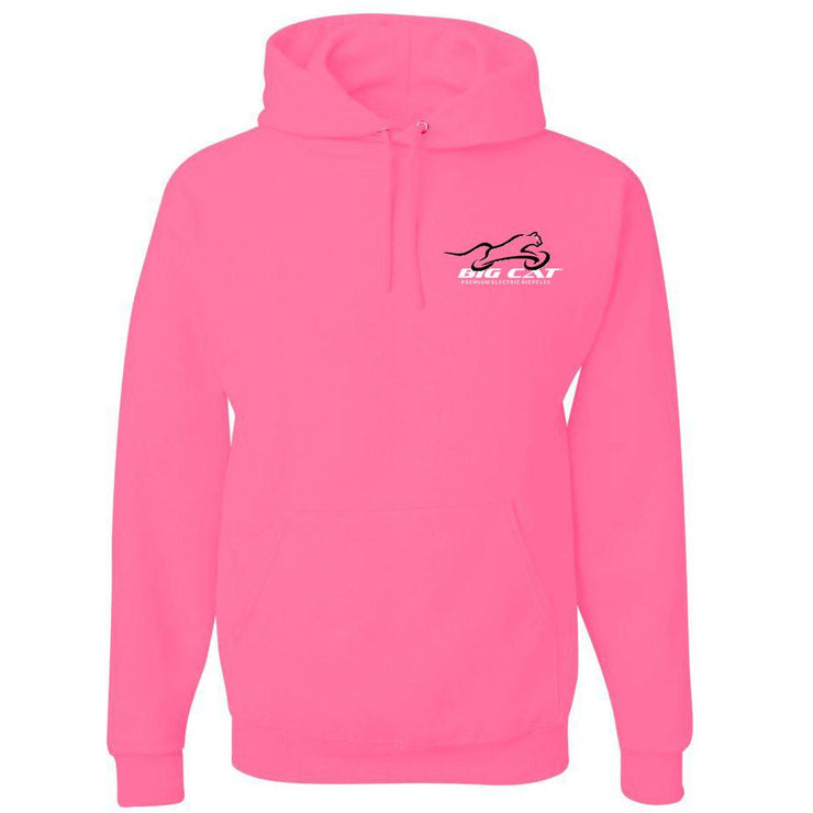 Bright pink hoodie with Big Cat logo on left breast