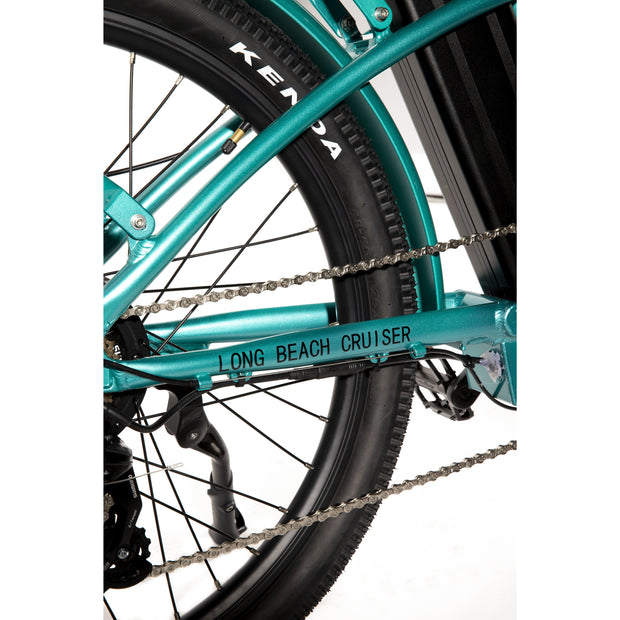 Long Beach Cruiser Electric Bike teal rear wheel