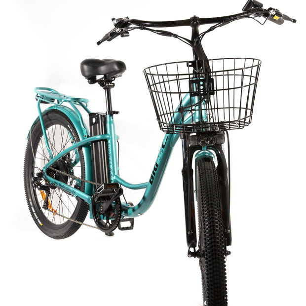 Long Beach Cruiser Electric Bike teal right front