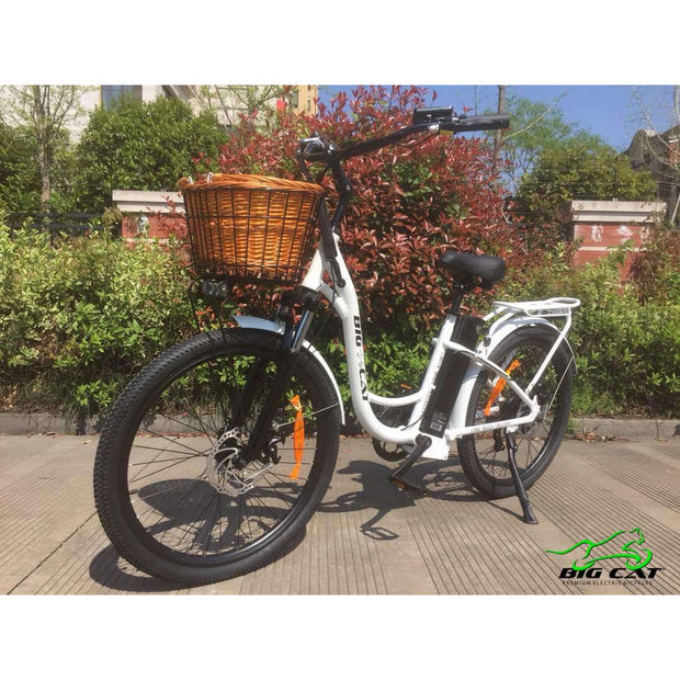 Long Beach Cruiser Electric Bike white front with basket