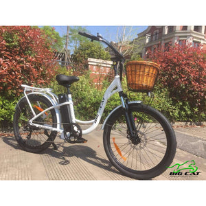 Long Beach Cruiser Electric Bike white right side with basket