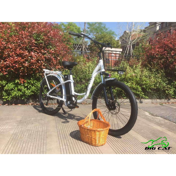 Long Beach Cruiser Electric Bike white right side angle with wicker basket removed