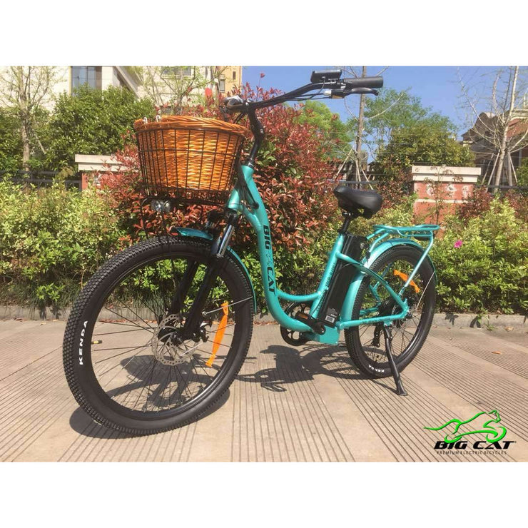 Long Beach Cruiser Electric Bike teal left side with basket