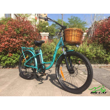 Long Beach Cruiser Electric Bike teal right angle with basket