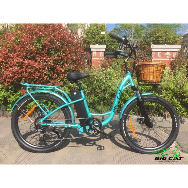 Long Beach Cruiser Electric Bike teal right side with basket