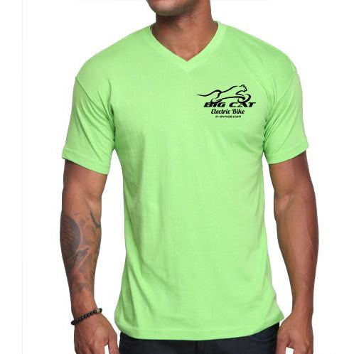 Man wearing bright green v-neck t-shirt with Big Cat logo on left breast