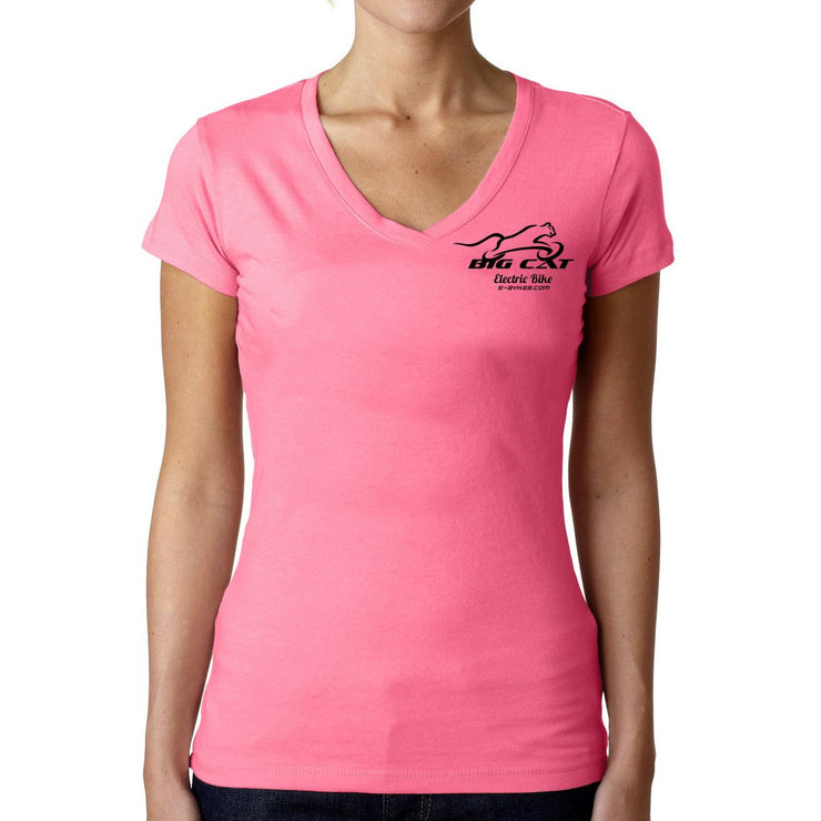 Woman wearing bright pink v-neck t-shirt with Big Cat logo on left breast