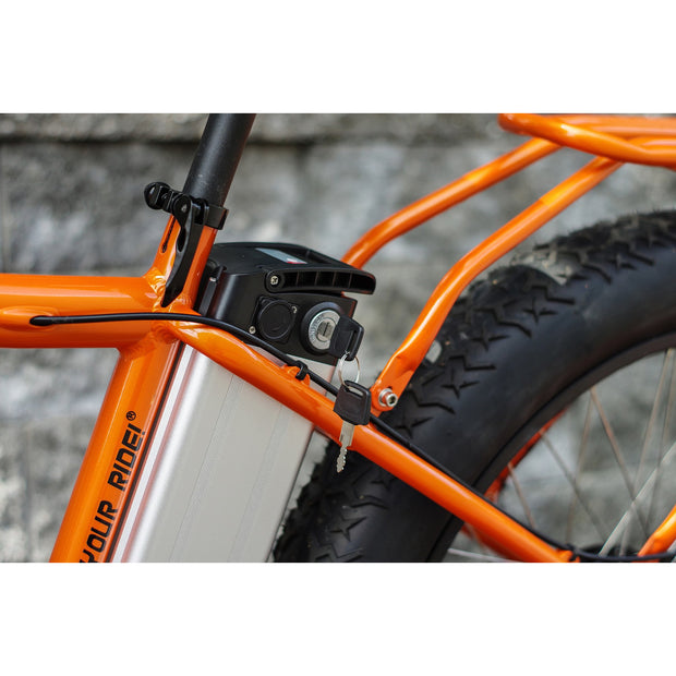 Lithium-ion battery pack in orange electric bike.