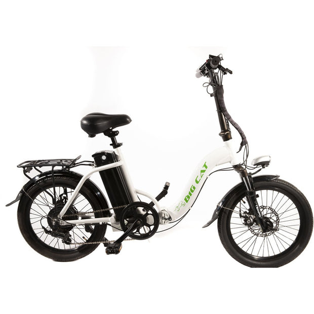 White electric folding bike with black battery pack.
