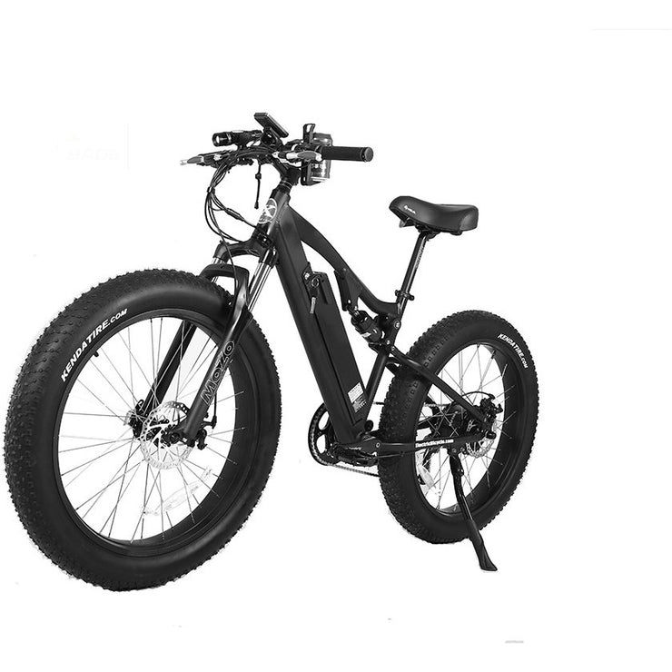 Rocky Road 48v electric mountain bike black left angle view