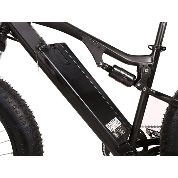Rocky Road 48v electric mountain bike black battery view