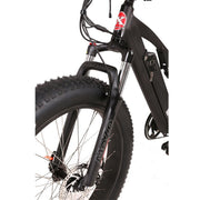 Rocky Road 48v electric mountain bike black front fork view