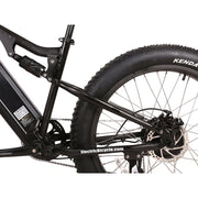 Rocky Road 48v electric mountain bike black rear wheel view