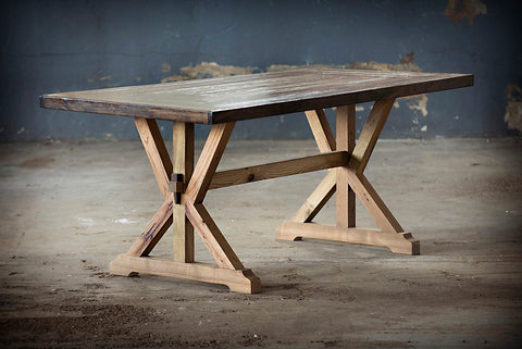 Handcrafted Trestle Table made using reclaimed wood