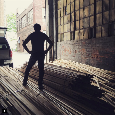 Salvaged poplar lumber in the loading dock.