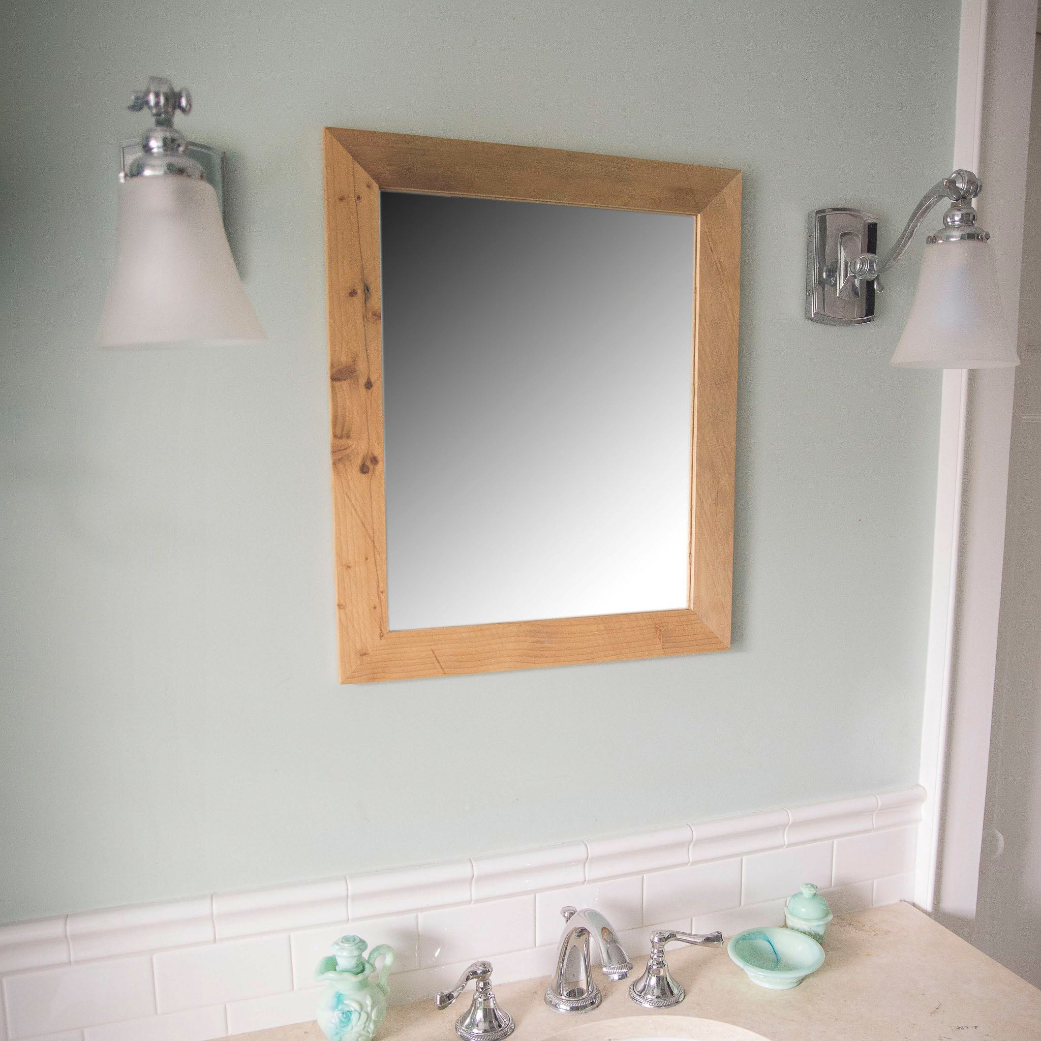 Vanity Mirrors For Bathroom Handcrafted Vanity Mirror -- Entry Mirror, Bathroom Mirror -- Reclaimed  wood from Detroit