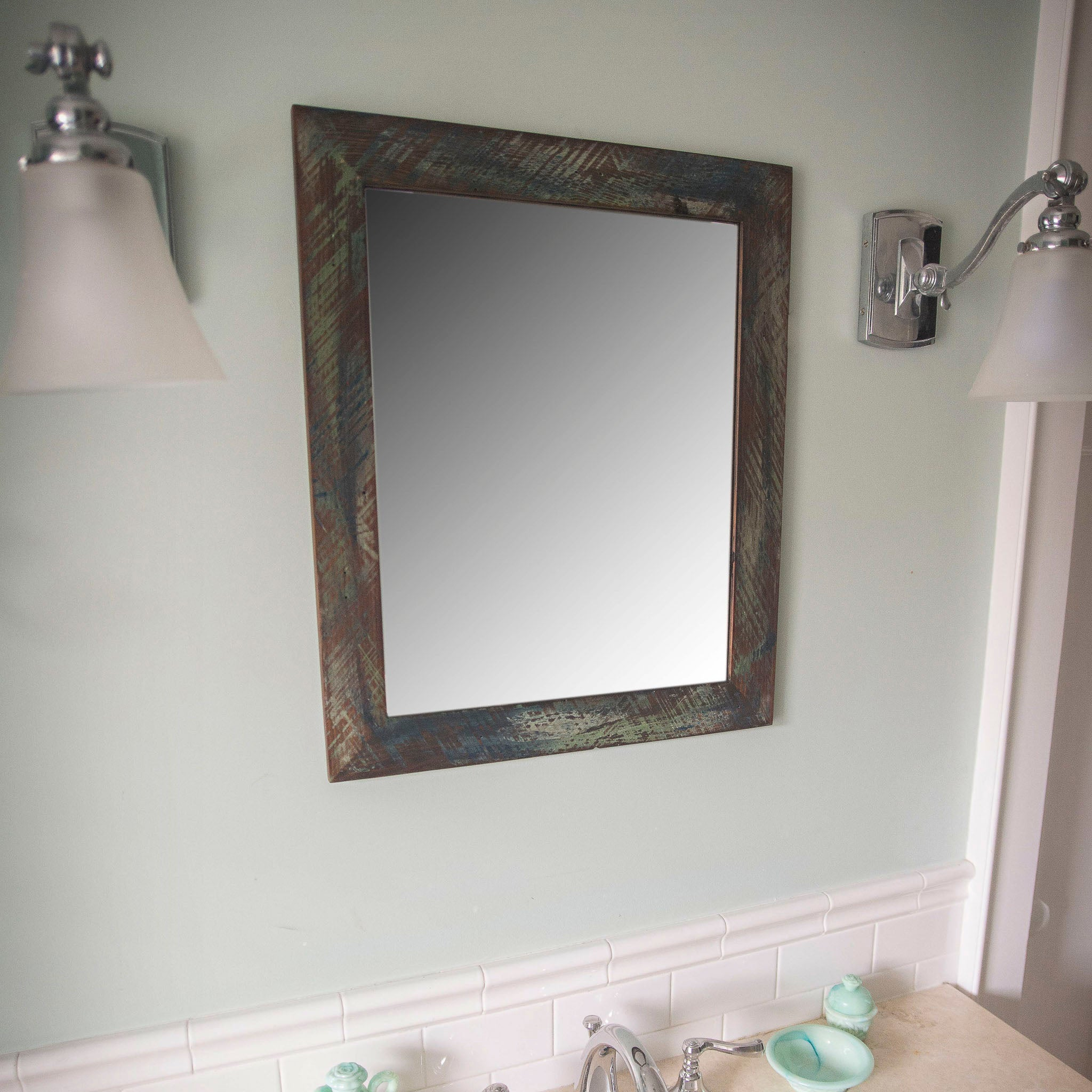 Handcrafted Vanity Mirror -- Entry Mirror, Bathroom Mirror -- Reclaimed wood from Detroit, Mutual Adoration, Handcrafted Home Goods and Gifts
