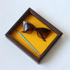 Leather Lined Valet Tray - Bright Yellow Leather with Dark Sides