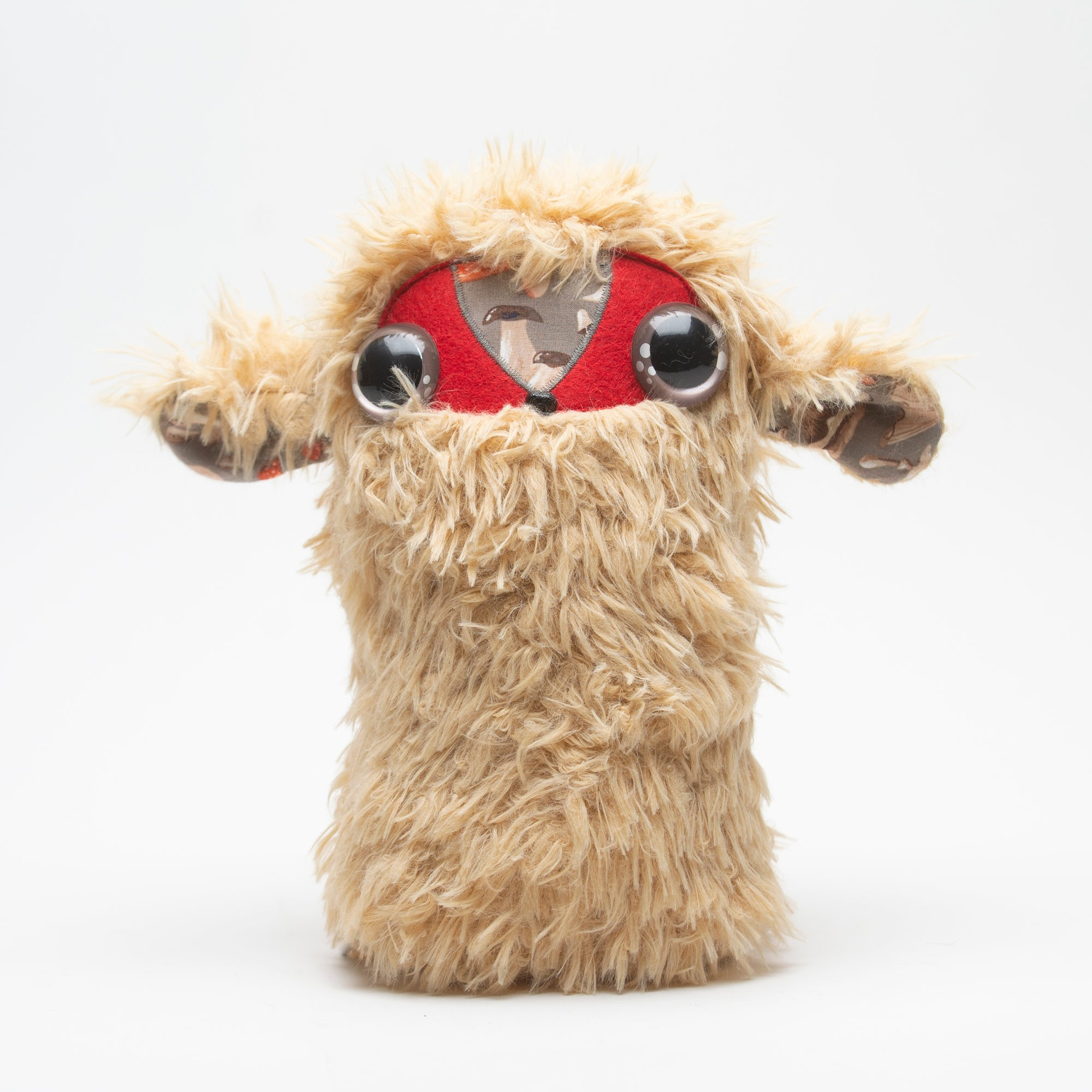 Cool Critter Stuffed Animal - Tan Furry + Mushroom Detail, Cool Critters, Handcrafted Home Goods and Gifts