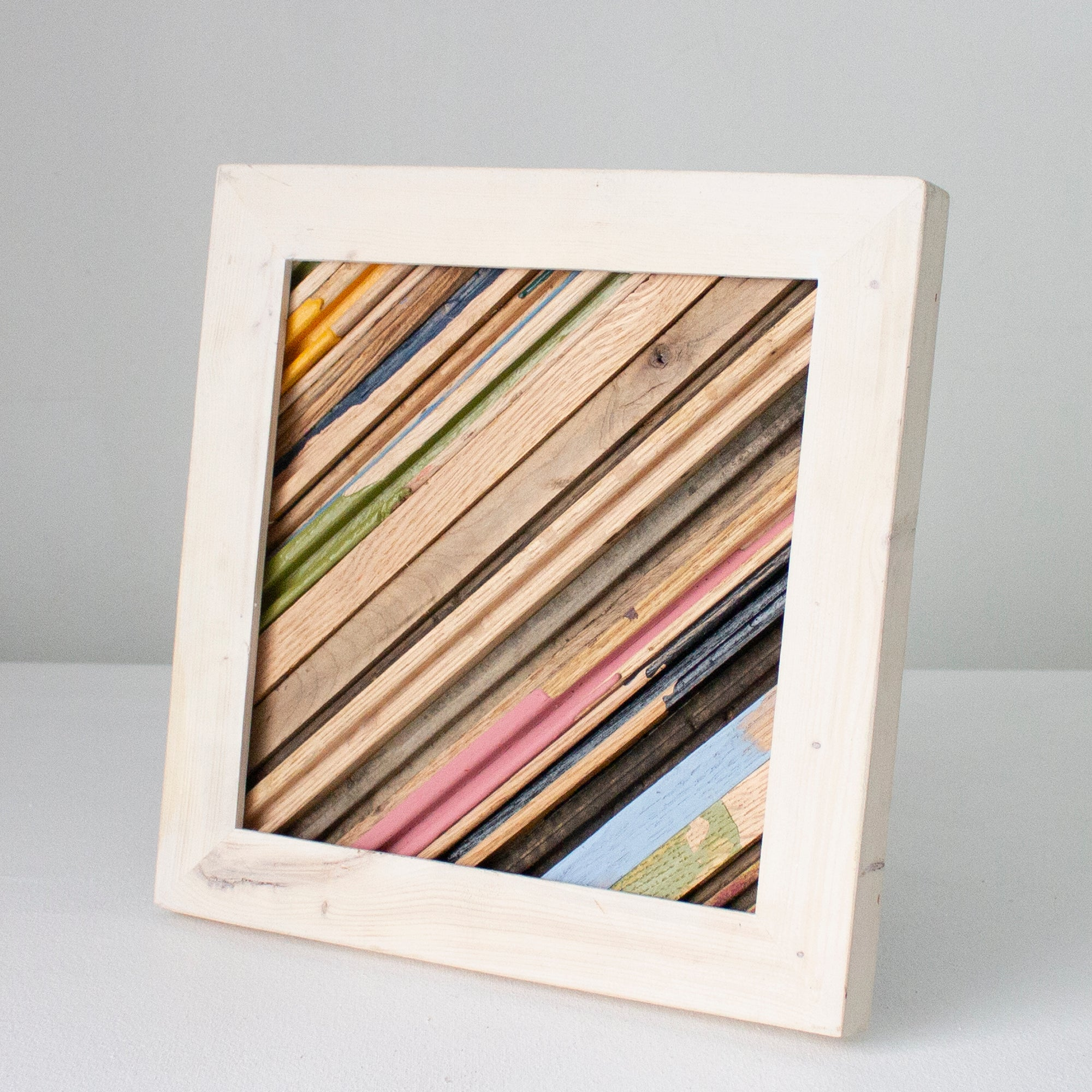 Reclaimed Wood Assemblage | Wall Hanging | Oak and Pine with Whitewash Frame