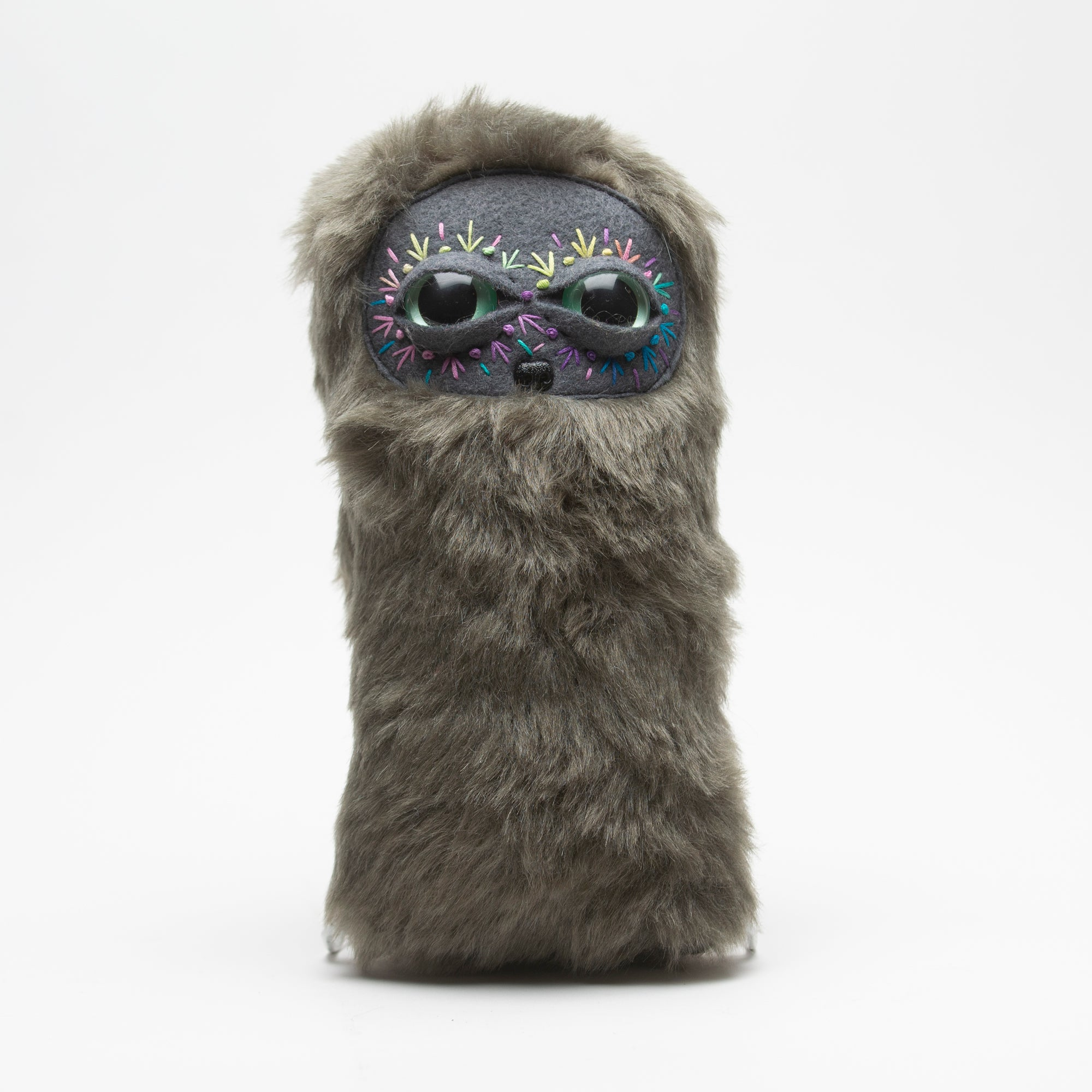 Cool Critter Stuffed Animal - Rainbow Face Gray Furry