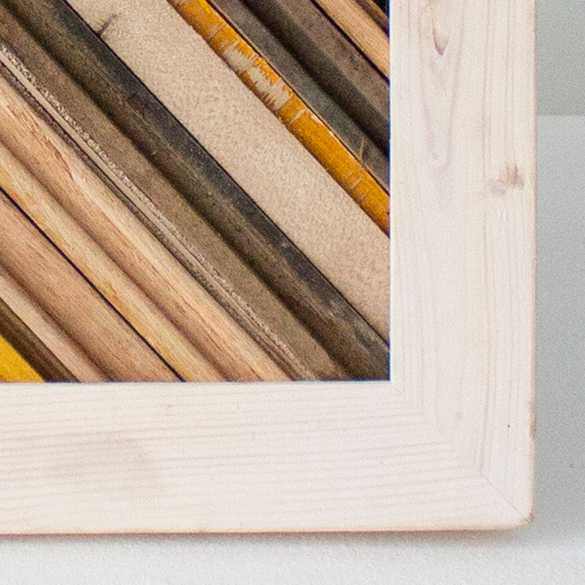 Reclaimed Wood Assemblage | Wall Hanging | Oak and Pine with Whitewash Frame, Mutual Adoration, Handcrafted Home Goods and Gifts