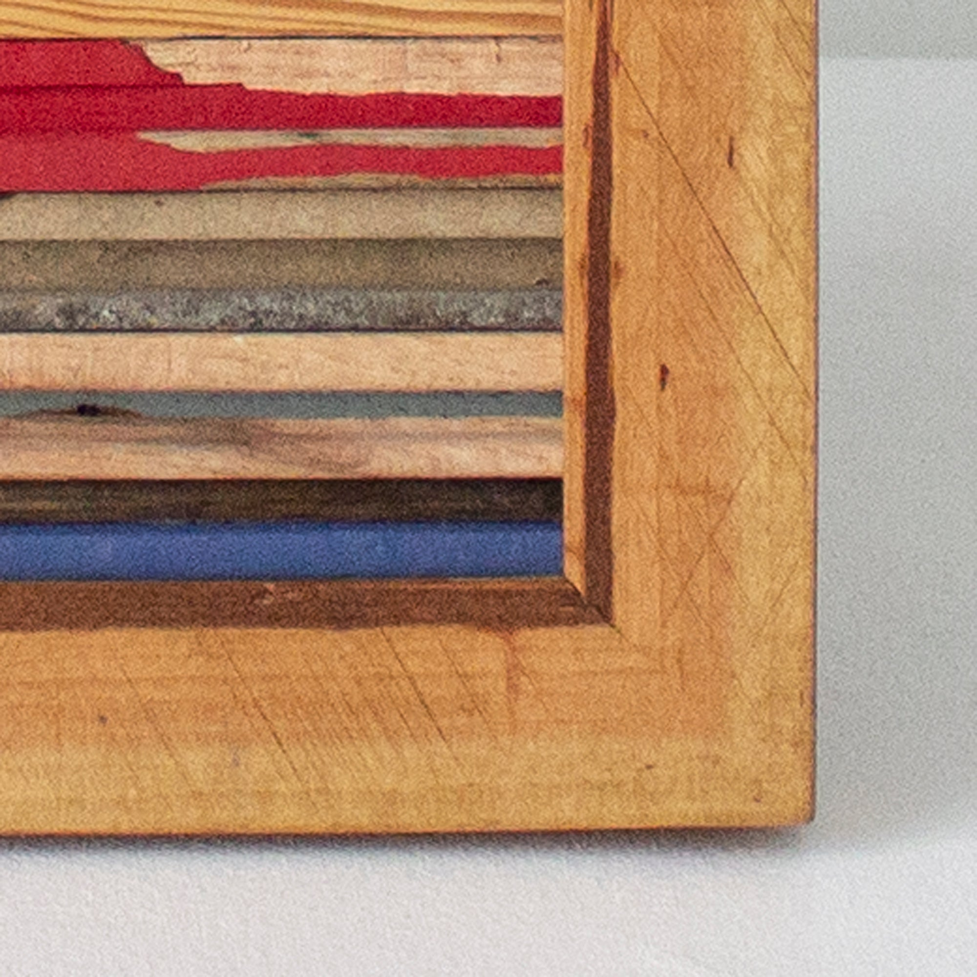 Reclaimed Wood Assemblage | Wall Hanging | Oak and Pine with Rich Golden Frame
