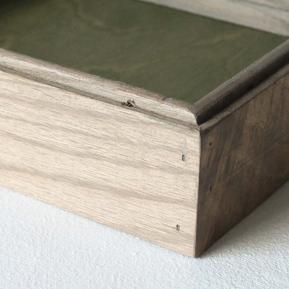 Reclaimed Wood Valet Tray - Fern Green with Gray Oak Sides
