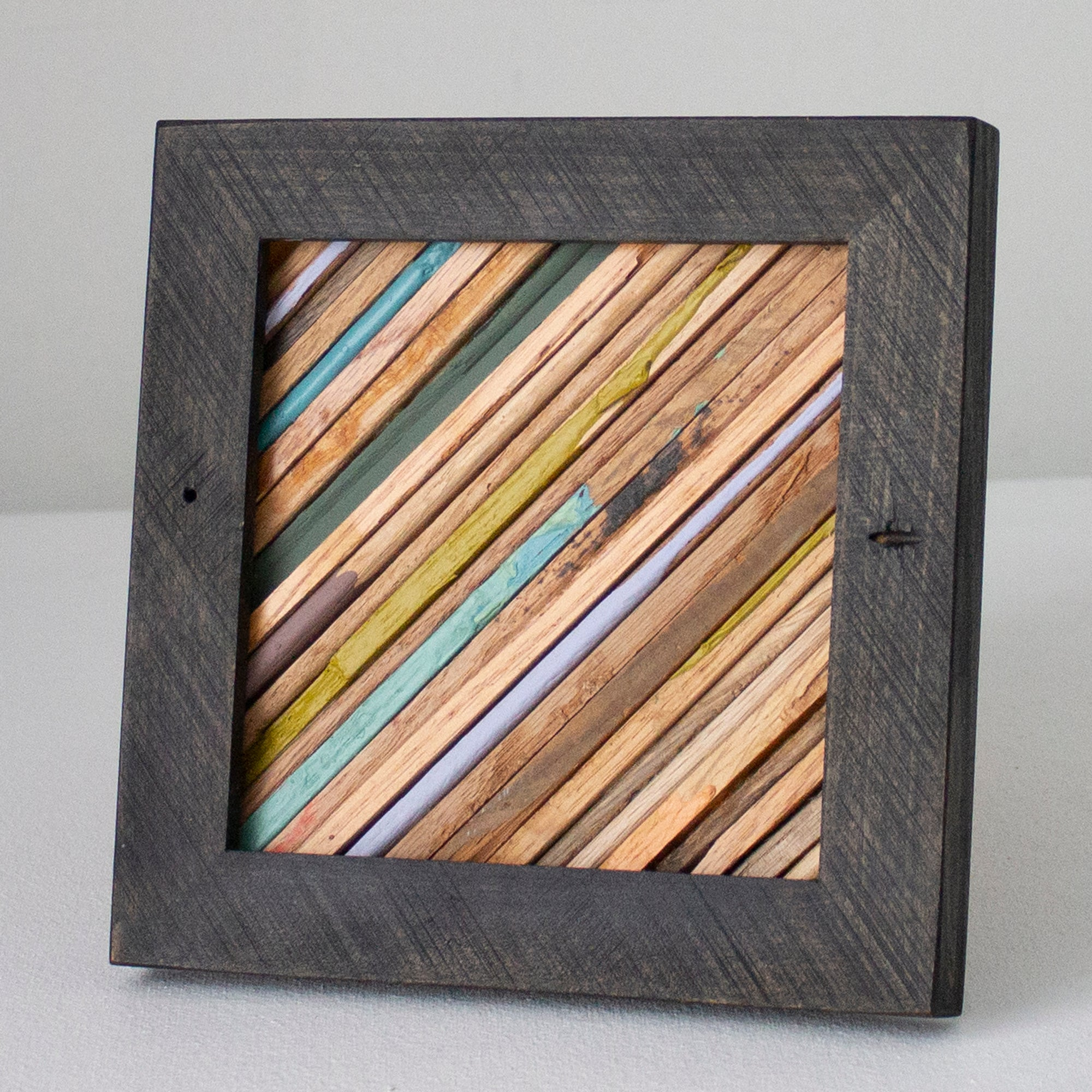 Small Reclaimed Wood Assemblage | Wall Hanging | Oak and Pine with Dark Black Frame