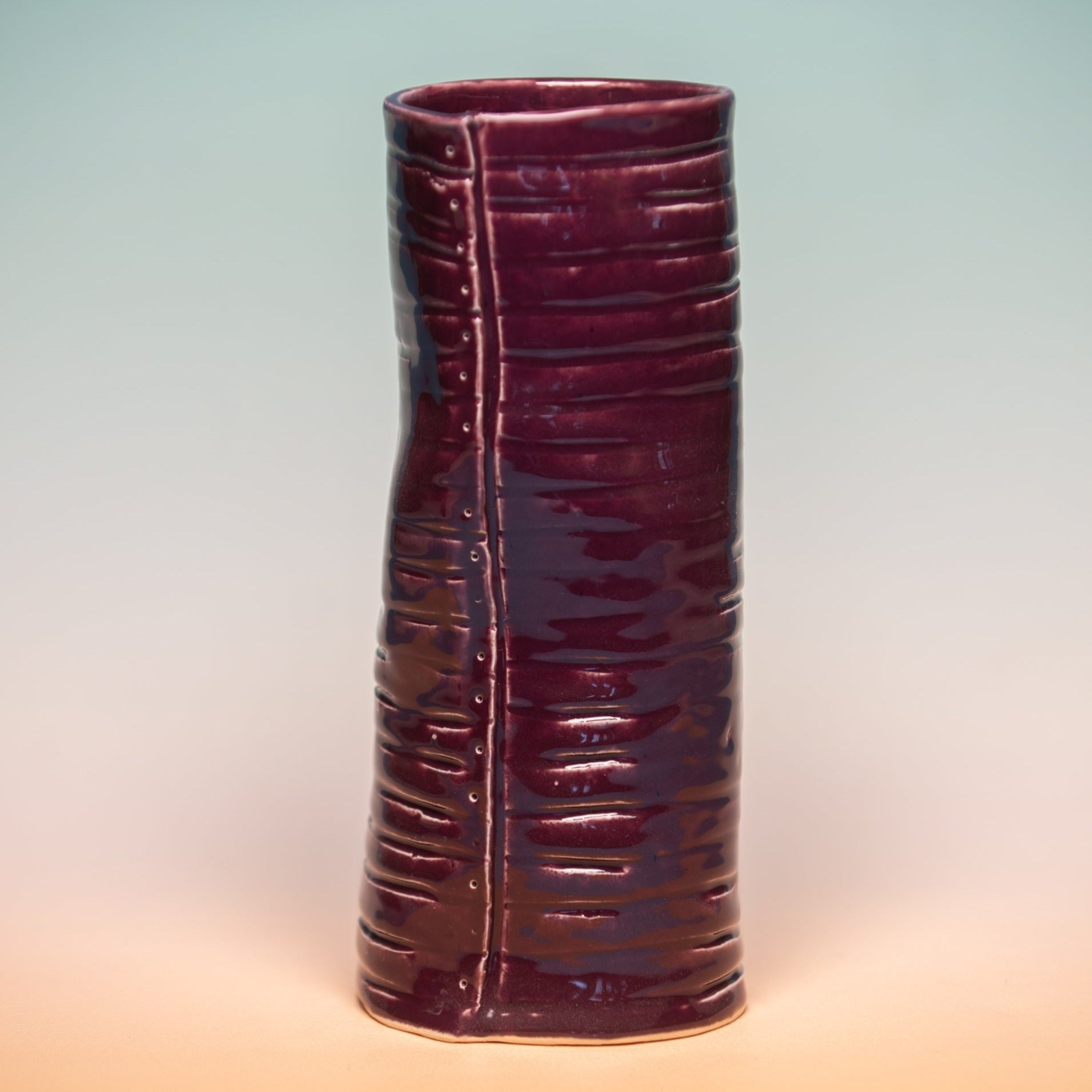 Organic Cylindrical Vase - Plum, Kelly Kaatz, Handcrafted Home Goods and Gifts
